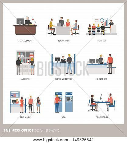 Business and banking concepts: business people working in the office and customers