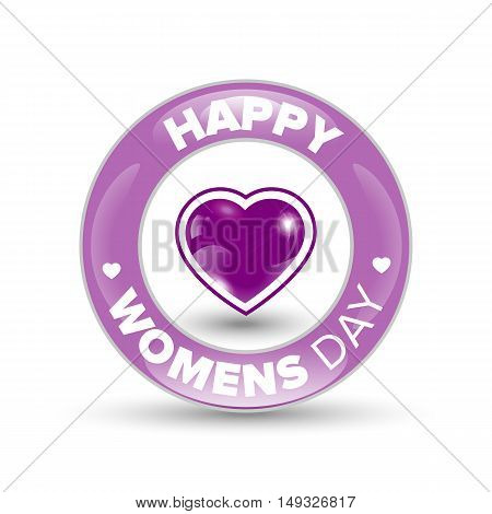 Happy Women day pink shiny circle badge with heart