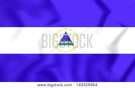 3D Flag of Nicaragua. 3D Illustration. Close Up.