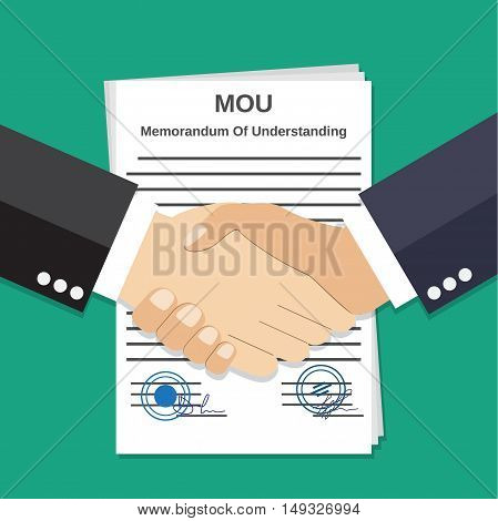 Two Businessman handshake on mou memorandum of understanding legal document contract papers after agreement. vector illustration in flat style on green background