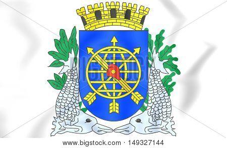 Rio De Janeiro City Coat Of Arms, Brazil. 3D Illustration.