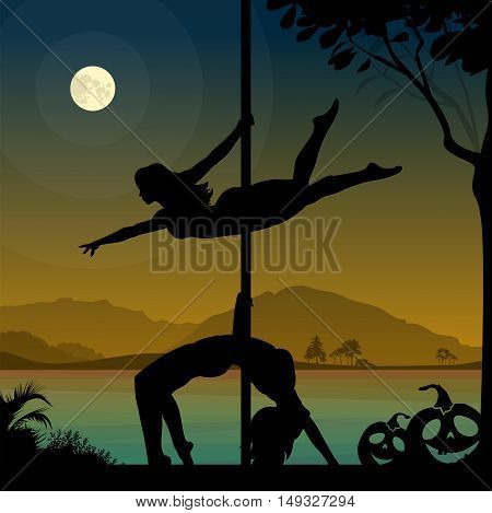 Black vector silhouettes of two female pole dancers performing pole moves in front of river and full moon at Halloween night