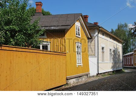 Traditional wooden houses in Old Rauma Finland