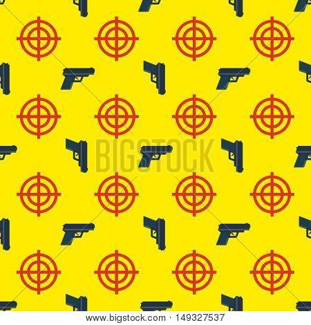 gun targets seamless pattern on yellow background 10eps