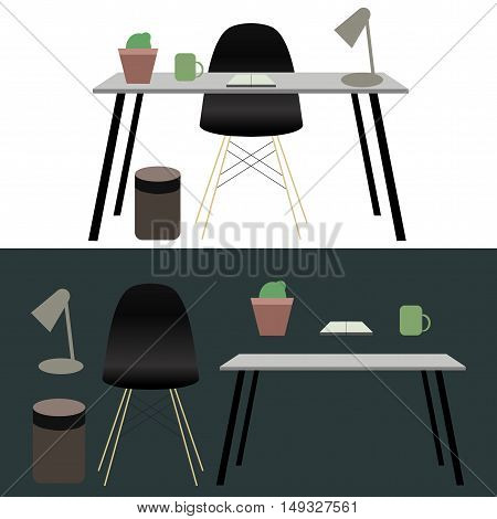 Office workplace concept design vector illustration art