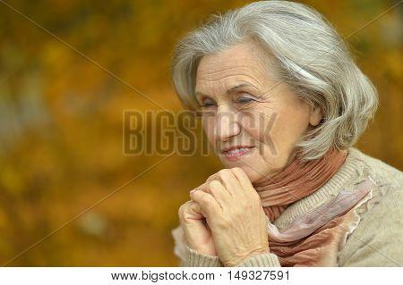 Happy beautiful senior woman in the autumn park
