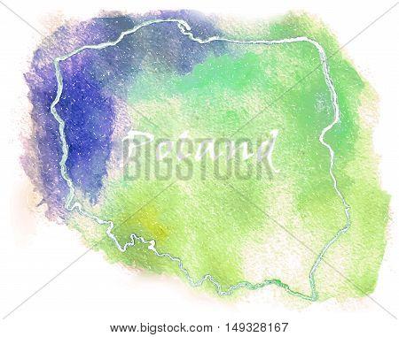 Poland vector watercolor map illustration set shape