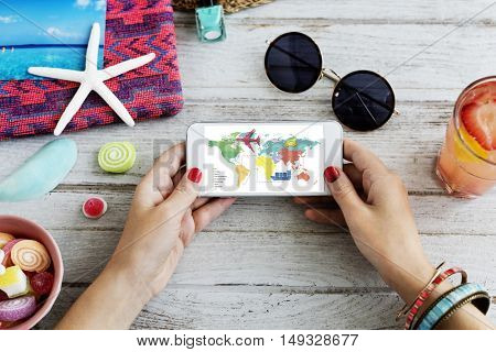 Travel Navigation Journey Vacation Trip Telephone Concept