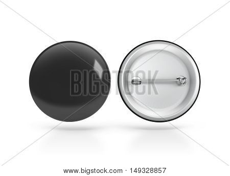 Blank black button badge mockup front and back side clipping path 3d rendering. Empty clear pin emblem mock up. Round plastic volunteer label. Vote sign design template. Campaigning badges display.