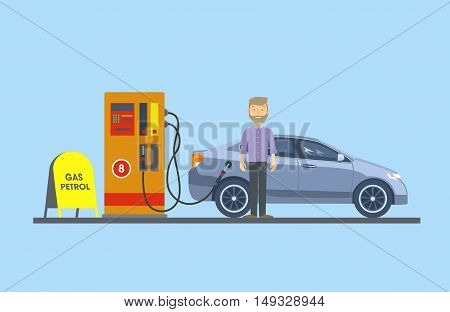 The car at the gas station with the driver. Vector illustration