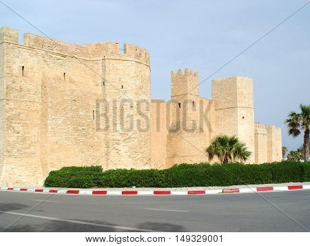 stone walls of the fortress (ribat) in the city of Monastir. Tunisia
