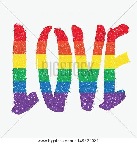 Love, Calligraphic text. Rainbow colored, gay symbolic.