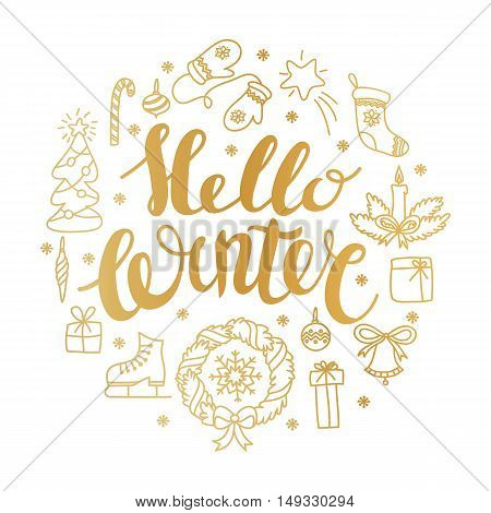 Hello winter handlettering with christmas elements. Winter season cards, greetings for social media, typography, t-shirt print.