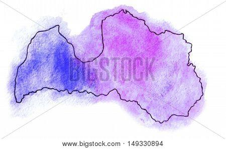 Latvia vector watercolor map illustration set world