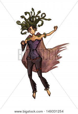 Medusa gorgona vector illustration greek snake woman