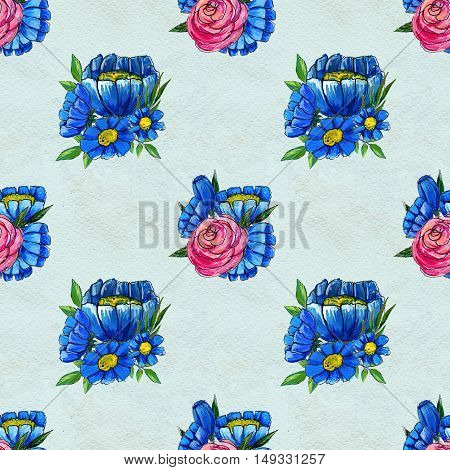 Seamless pattern with flowers. Floral watercolor background. Blue wildflowers and pink roses.