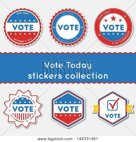Vote Today Stickers Collection. Buttons Set For Usa Presidential Elections 2016. Collection Of Blue