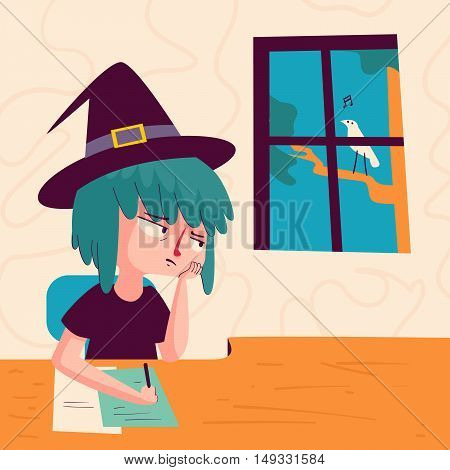 Bored Witch Looking Out Of Window