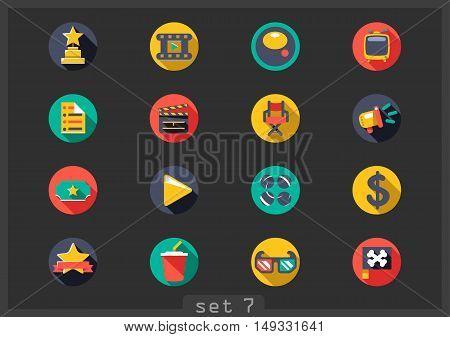 Set of sixteen flat movie icons on black background