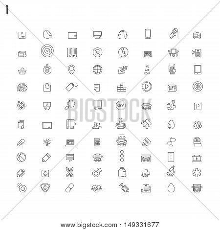 Big set of line flat icons on white background