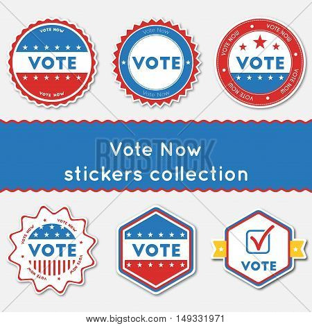 Vote Now Stickers Collection. Buttons Set For Usa Presidential Elections 2016. Collection Of Blue An