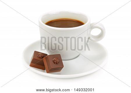 cup of coffee and chocolate candy isolated on white background