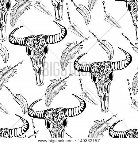 Vector hand drawn seamless pattern. Sketch of Buffalo skulls. Monochrome ink illustration.