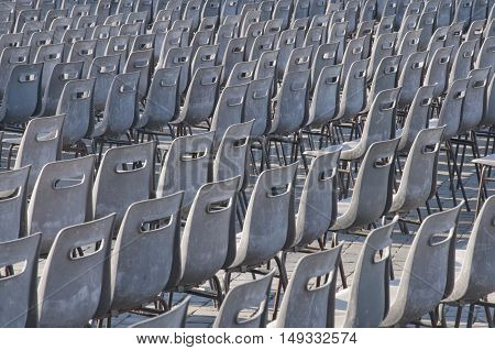Empty seats after a large outdoor mass in Saint Peter's Square, the Vatican, Rome.