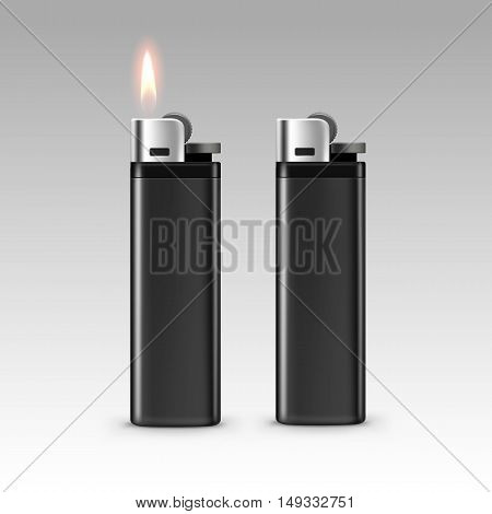 Vector Blank Black Plastic Lighters with Flame Close up Isolated on White Background