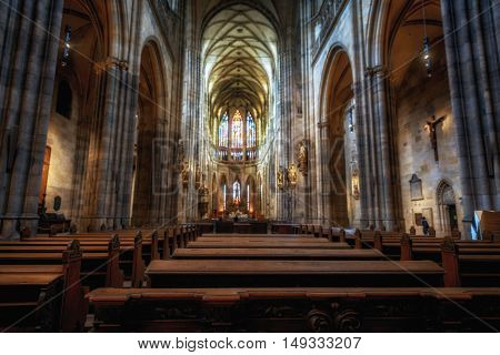 PRAGUE, CZECH REPUBLIC 2014 november 26: The Metropolitan Cathedral of Saints Vitus, Wenceslaus and Adalbert is the most important cathedral of the country