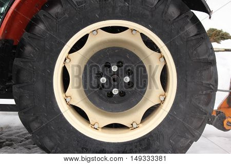 Tractor tyre / The winter tyre on tractor.