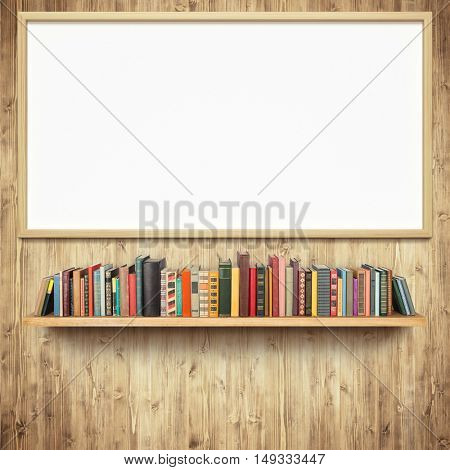 Bookshelf and empty white board on wooden wall
