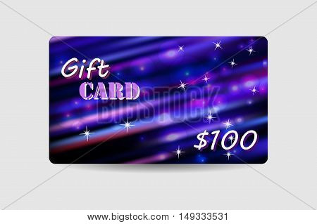 Gift card, coupon, discount card with violet defocus bokeh background. Holiday design for invitation, ticket. Vector illustration