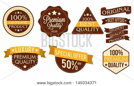 Premium Quality Products stickers, tags, labels, badges or ribbons set on white background.