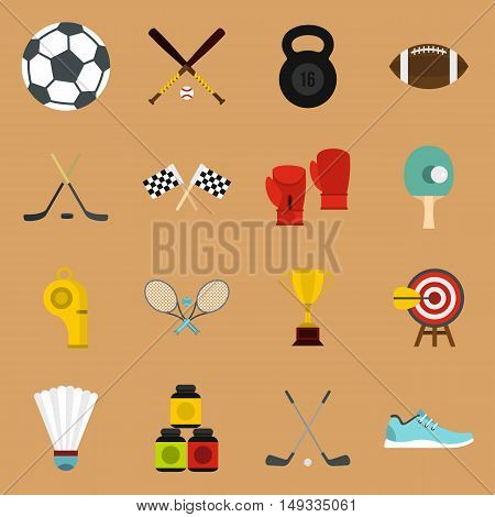 Sport equipment icons set in flat style on a sandy brown background. Sport elements elements set collection vector illustration