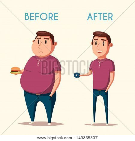 Man before and after sports. Cartoon vector illustration. Diet and sport. Fat and strong character. Fitness. Sporty and ugly people.