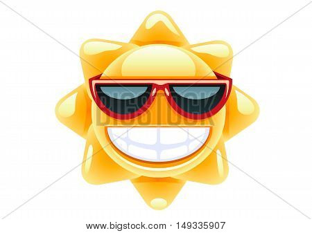 Happy yellow sun in red glasses on white background