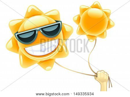 Hand with two sun balloons on white background