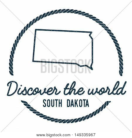 South Dakota Map Outline. Vintage Discover The World Rubber Stamp With South Dakota Map. Hipster Sty