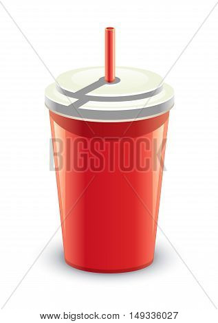 Red can of soft drink on white background, vector