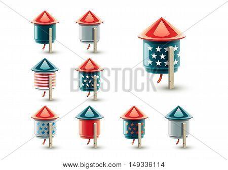Set of fireworks for celebrating US Independence Day