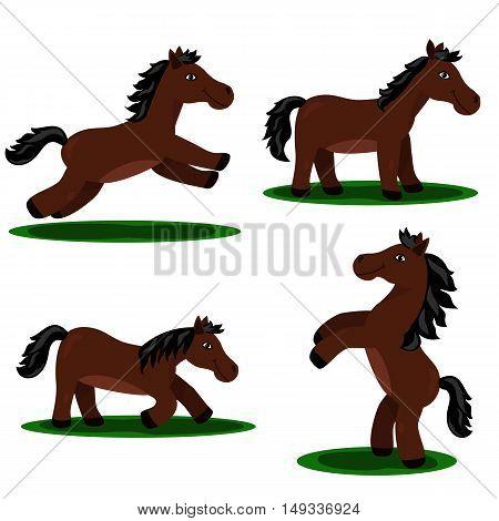 Vector set of cartoon horse isolated on white background.