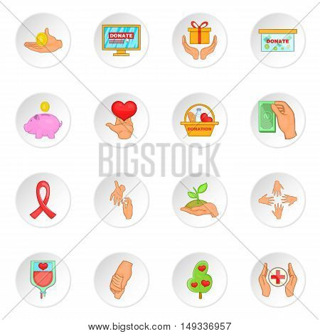 Charity organization icons set in cartoon style. Donation set collection vector illustration
