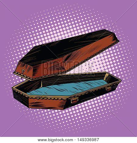 antique wooden coffin is open pop art retro vector illustration