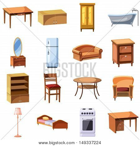 Furniture and household appliances icons set in cartoon style. Furnishing apartment elements set collection vector illustration