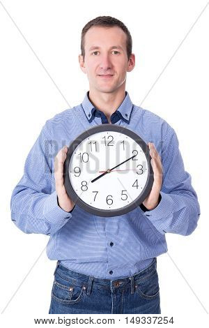 Deadline Concept - Middle Aged Businessman With Office Clock Isolated On White