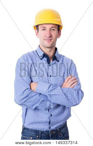 Portrait Of Middle Aged Handsome Business Man In Yellow Builder's Helmet Isolated On White