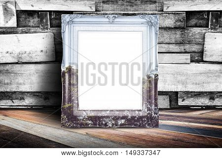 Blank Nature Overlay Vintage Photo Frame Leaning At Plank Wood Wall And Diagonal Wood Floor,mock Up