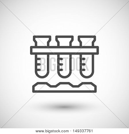 Laboratory flasks icon isolated on grey. Vector illustration