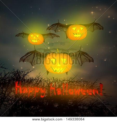 Pumpkins in the sky. Night on Halloween. 3D illustration